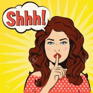 Shhh bubble. Pin up woman putting her forefinger to her lips for silence. Pop art comics style. Vector illustration. Pop art girl says shhh